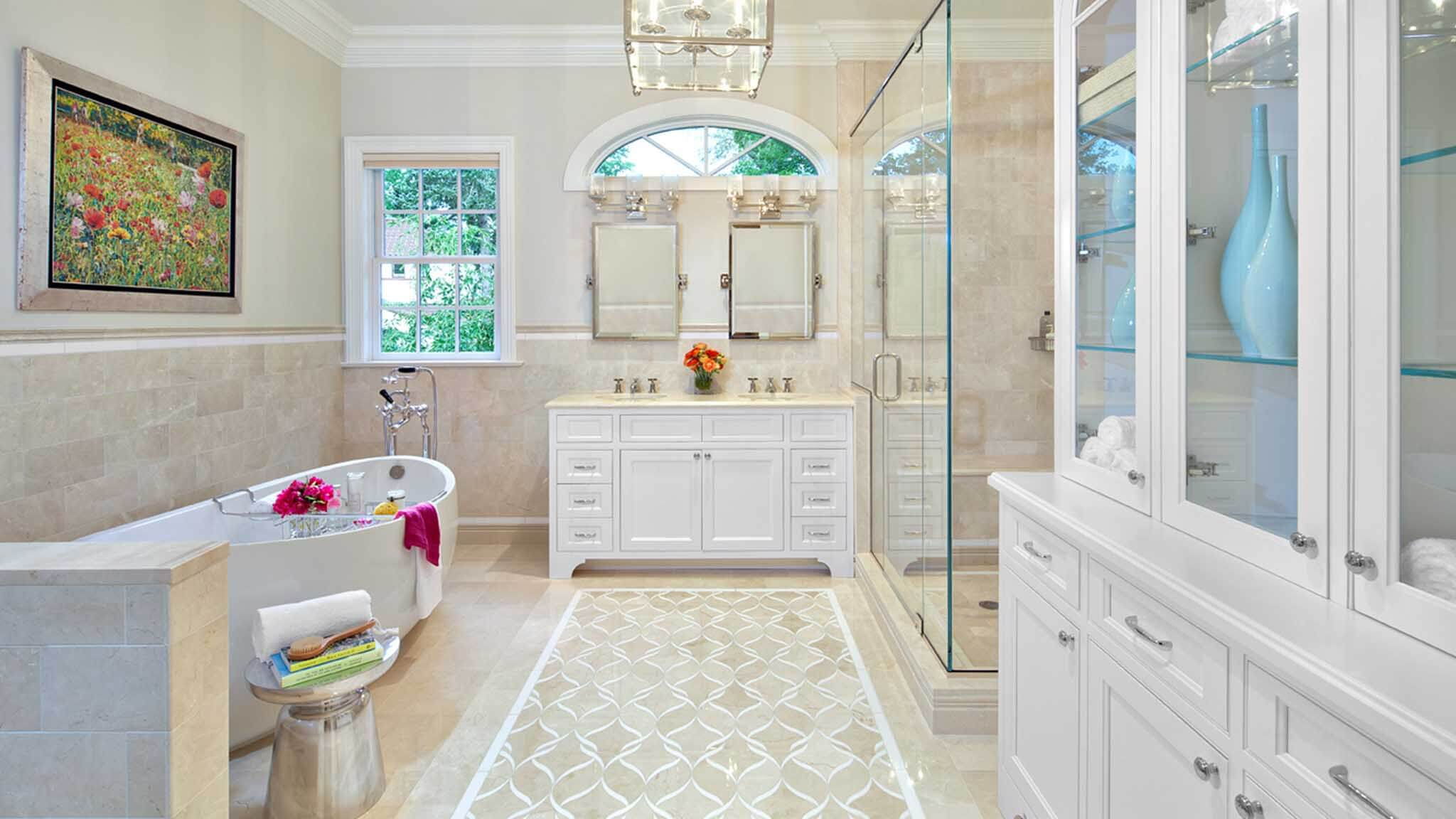 Traditional Beige Master Bath Westport, CT - Award Winning Kitchen ...